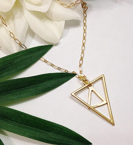 Double Triangle Pendant Necklace