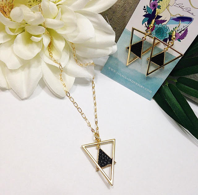 Double Vegan Leather Triangle Pendant Necklace