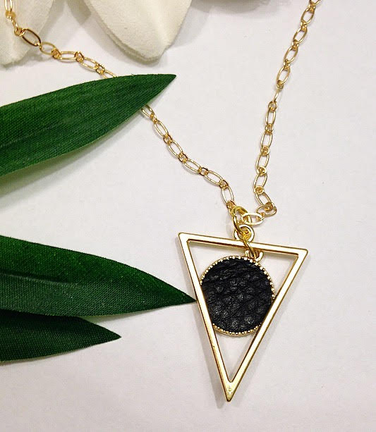 Vegan Leather Circle Triangle Pendant Necklace