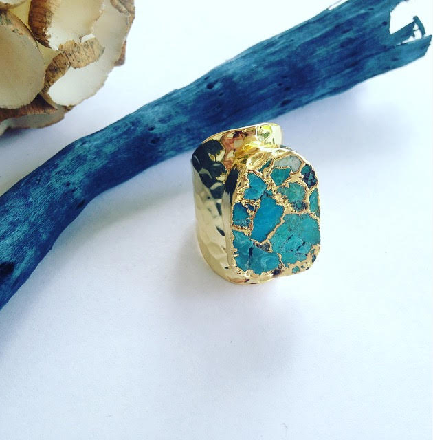 Hammered Metal Natural Turquoise Crackle Ring