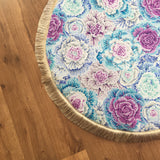 Purple and blue cabbage floral play mat