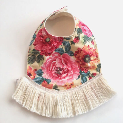 Cream Floral Dribble Bib