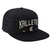 Embroidered Arch Logo Mesh Back Trucker---Black--Ivory Thread