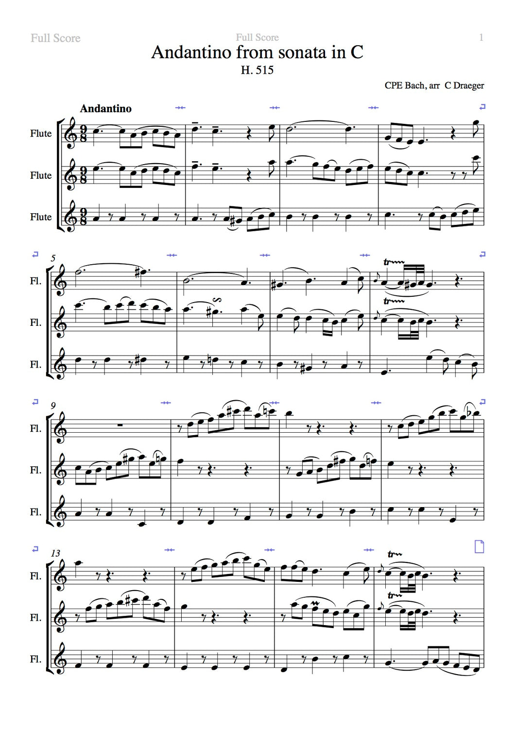 J.C Bach Andantino from Sonata in C Trio