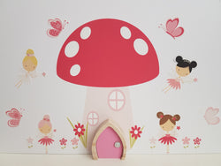 Toadstool Fairy House Wall Stickers and Fairy Door