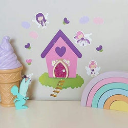 Purple Fairy Wall Stickers and Fairy Door
