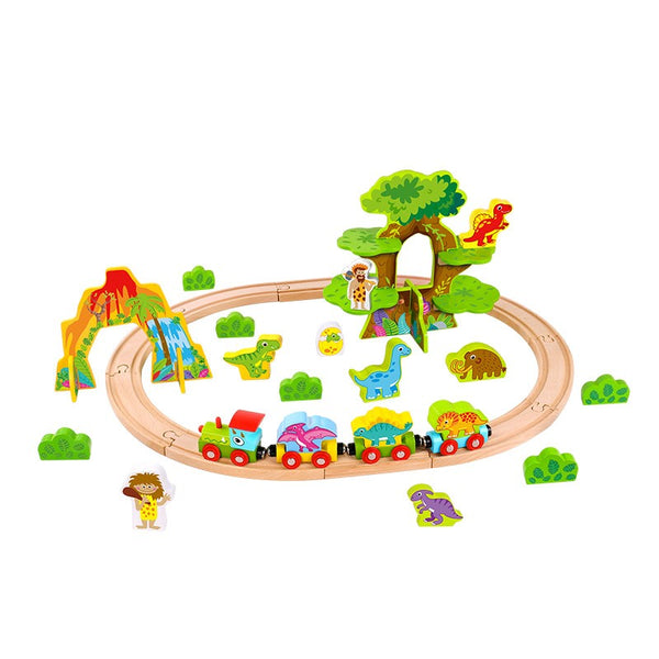 WOODEN DINO TRAIN SET