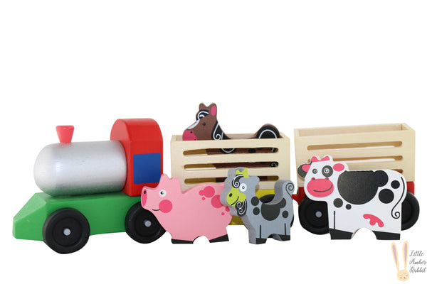 WOODEN FARM TRAIN WITH ANIMALS