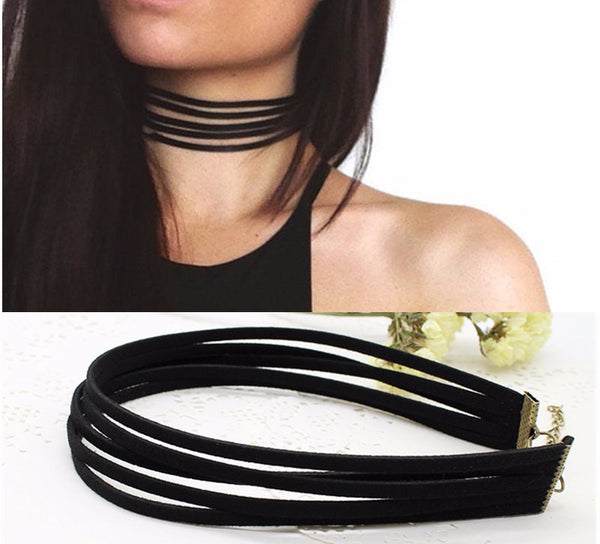 Black Velvet Multi Layer Choker