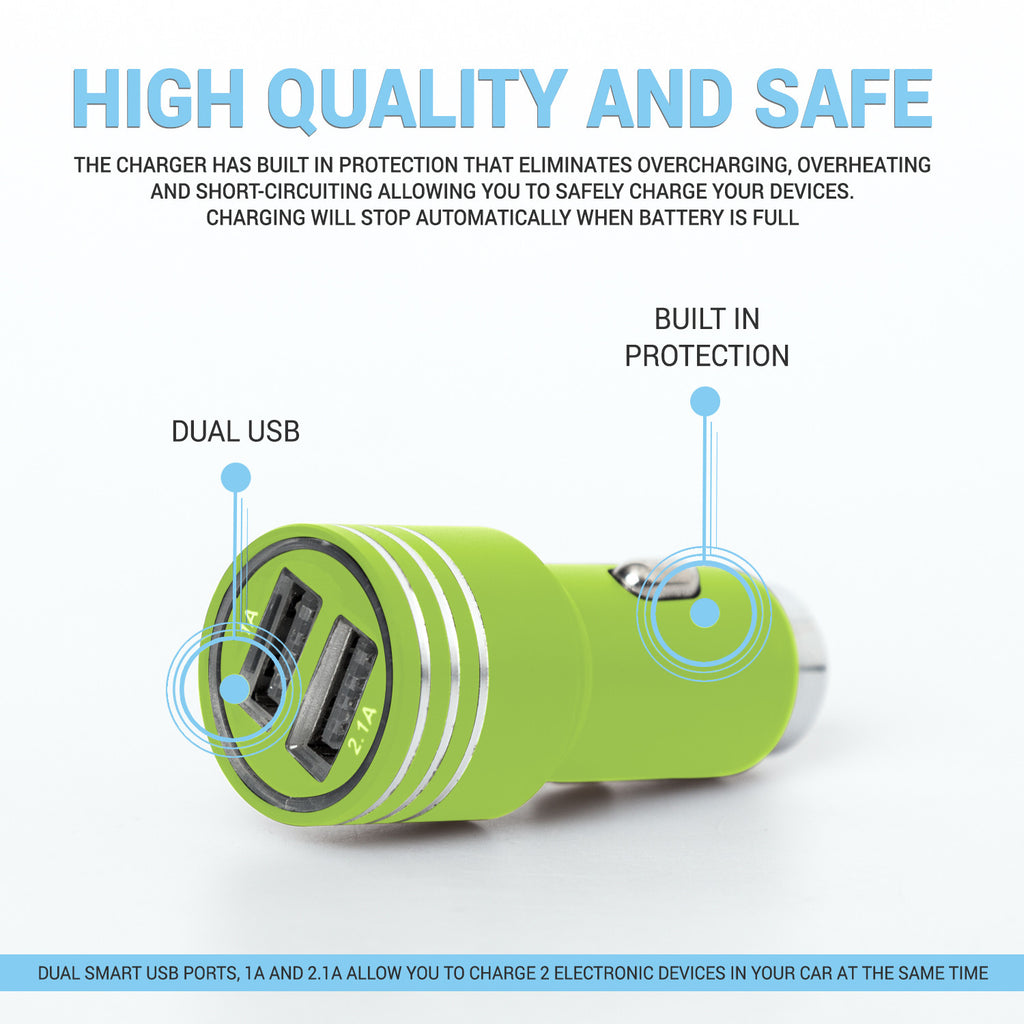 Green Usb 2 In 1 Car Charger With Emergency Glass Breaker Hammer Battery Shortcircuit Protection For Safe Charging