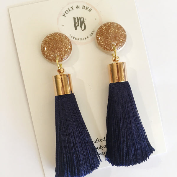 Gold Sparkle Tassel Statement Earrings (w)