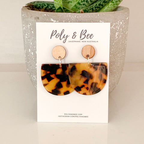 'Bingara' Acrylic & Wood Earrings (w)