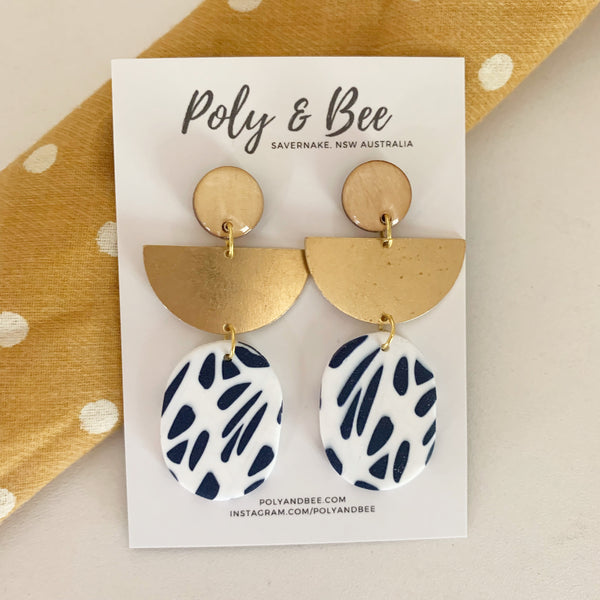 Nautical Brass and Wood Statement Earrings