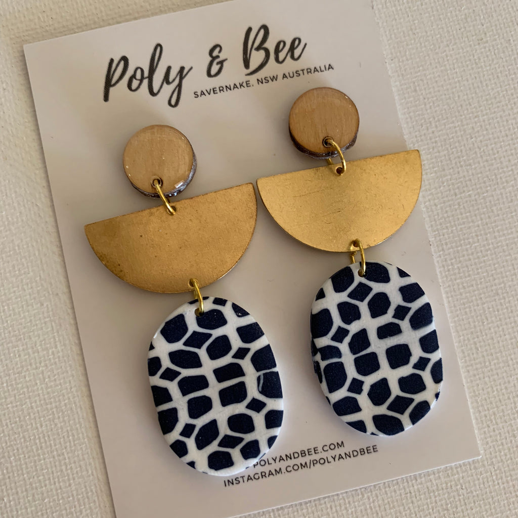 Nautical Oval Brass Drop Statement Earring
