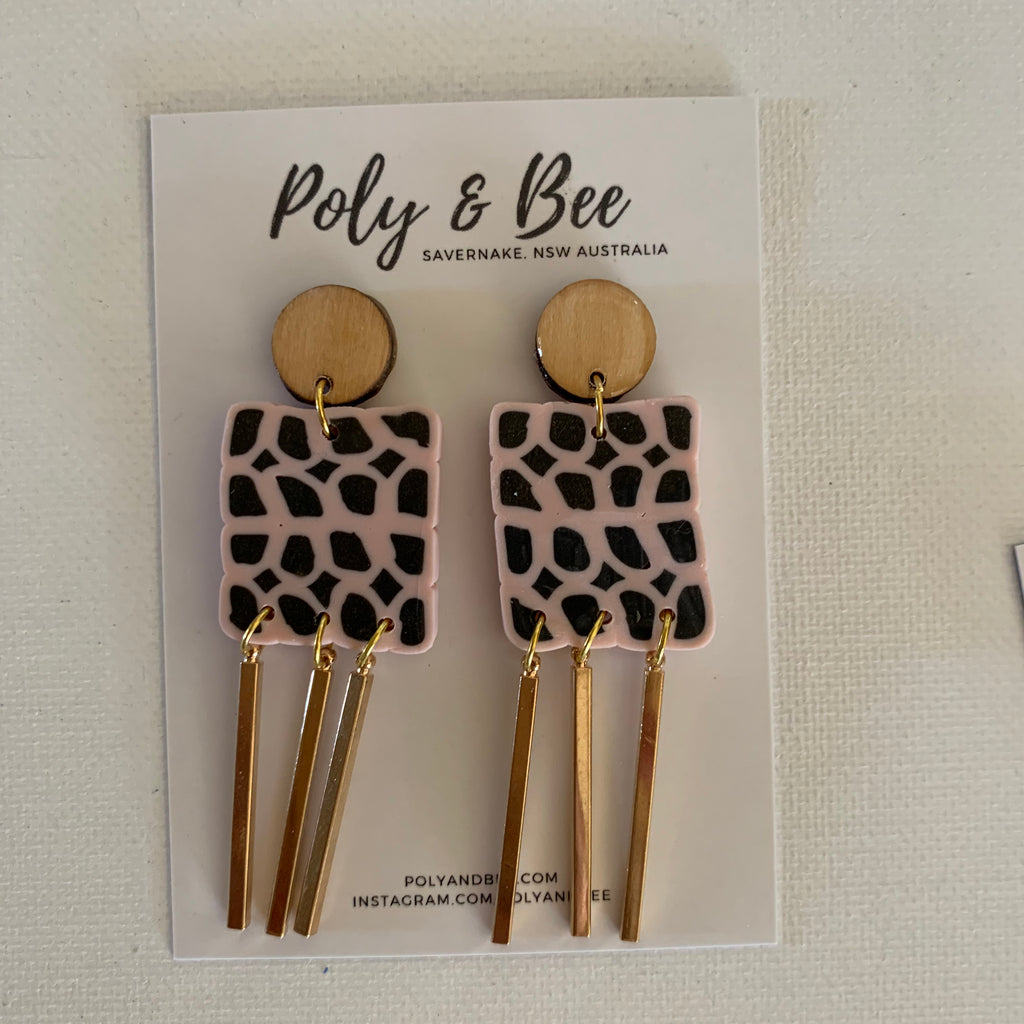 Square, Wood and Brass Statement Earring