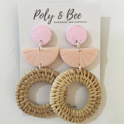 Rattan Weave Circle Statement Earring