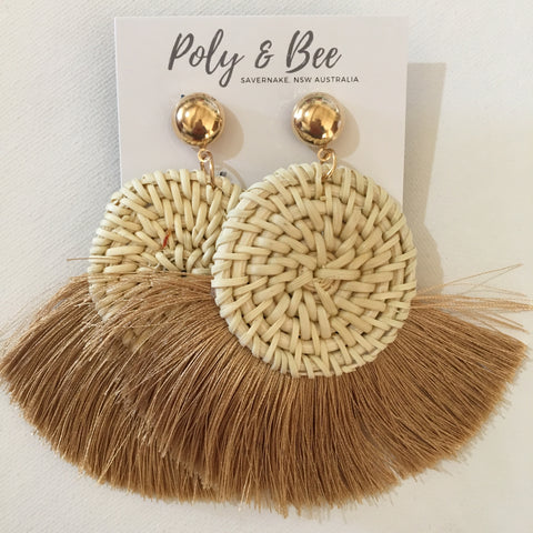 Rattan Weave Fan Tassel Statement Earring (w)
