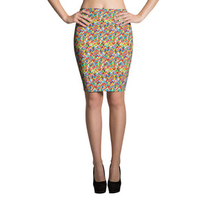 Chevronic Rainbow Pencil Skirt