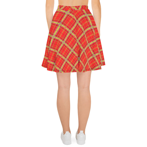 Mock Tartan In Orange Skater Skirt