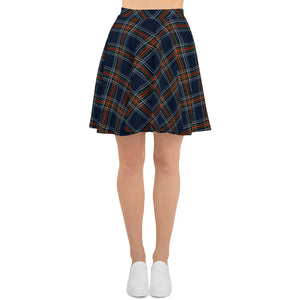 Mock Tartan In Blue Skater Skirt
