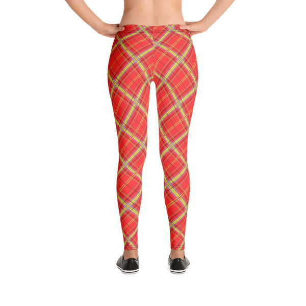 Mock Tartan In Orange Leggings