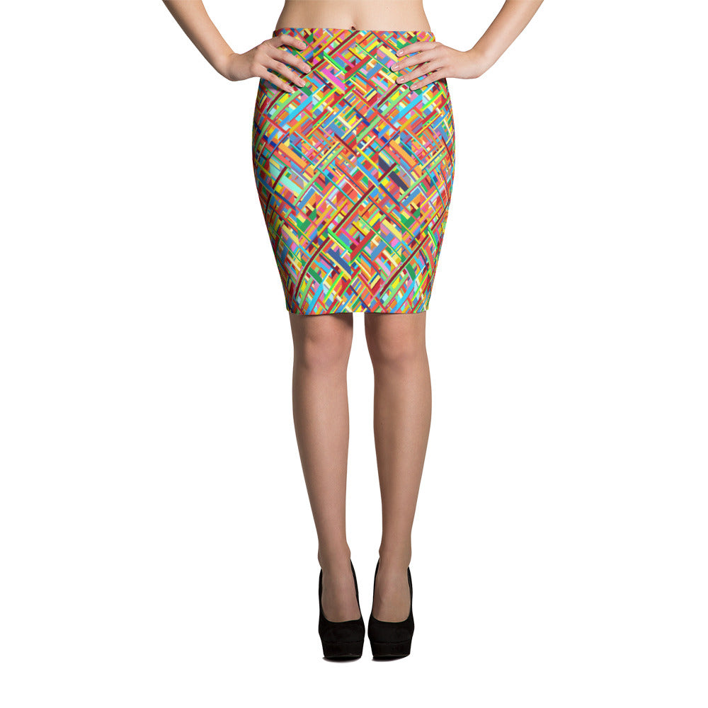 Colourful Chaos Pencil Skirt