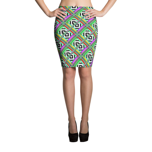 Glitched Pencil Skirt