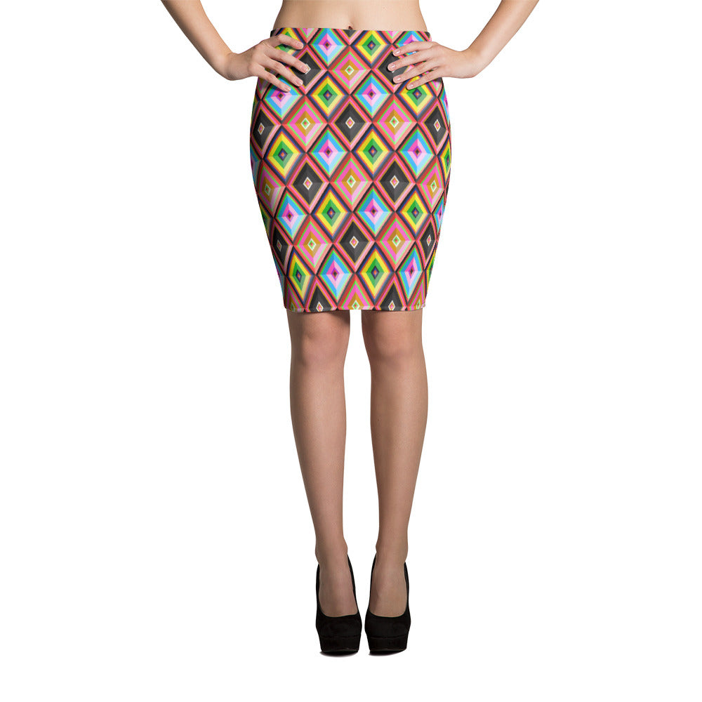 Colourful Rhombi Pencil Skirt