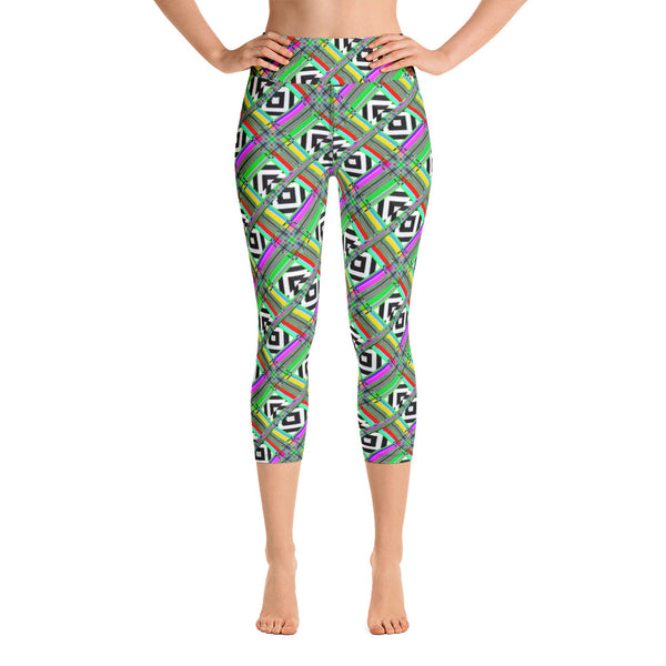 Glitched Yoga Capri Leggings