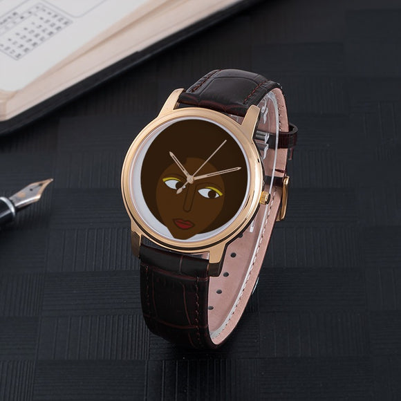 30 Meters Waterproof Quartz Fashion Watch With Brown Genuine Leather Band ( pretty woman ) - E-Merkato