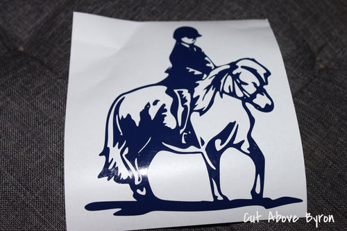 Pony and rider decal in navy blue