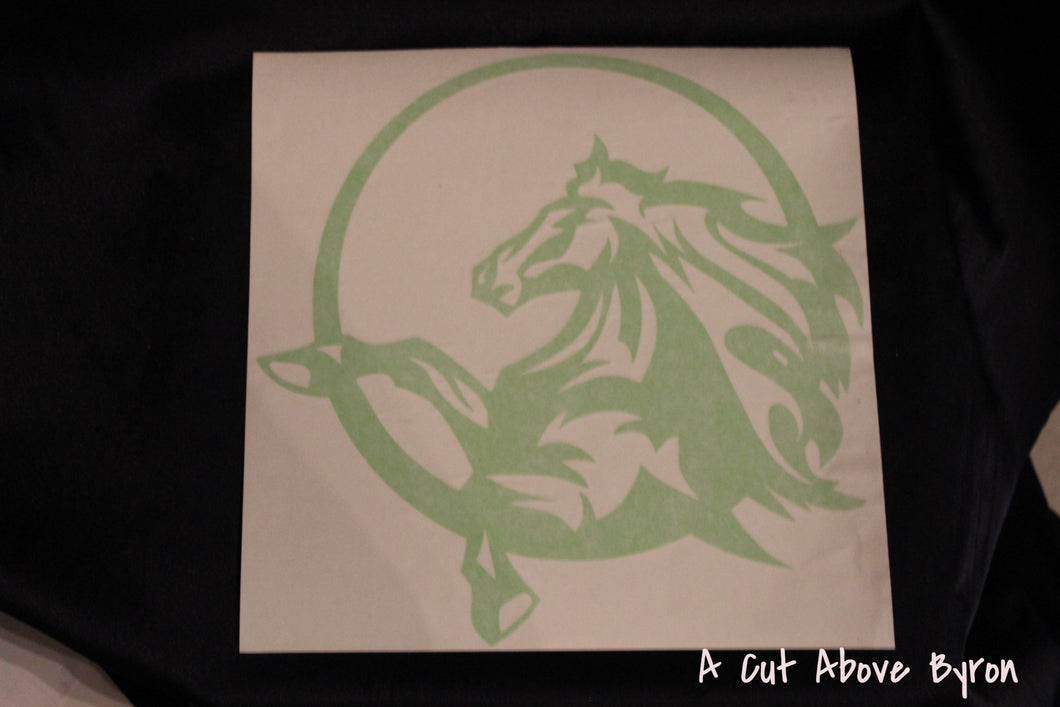 Lime green small horse in circle decal