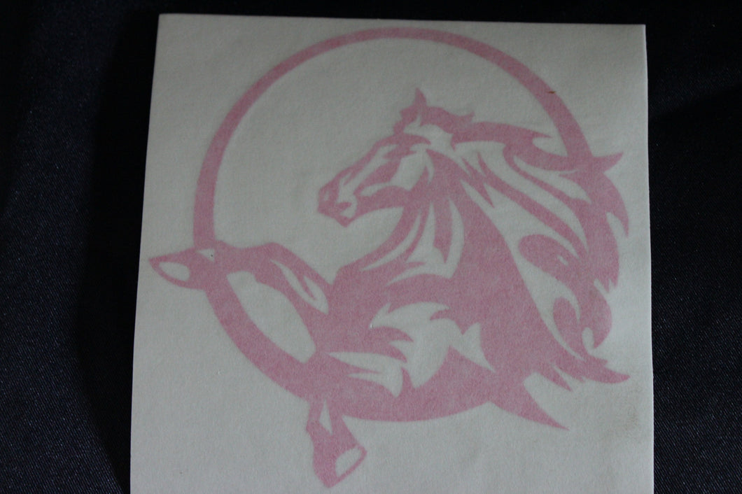 Pink horse in circle decal