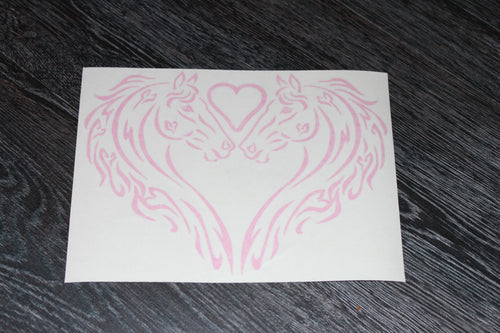 Heart detail horse silouette heart decal