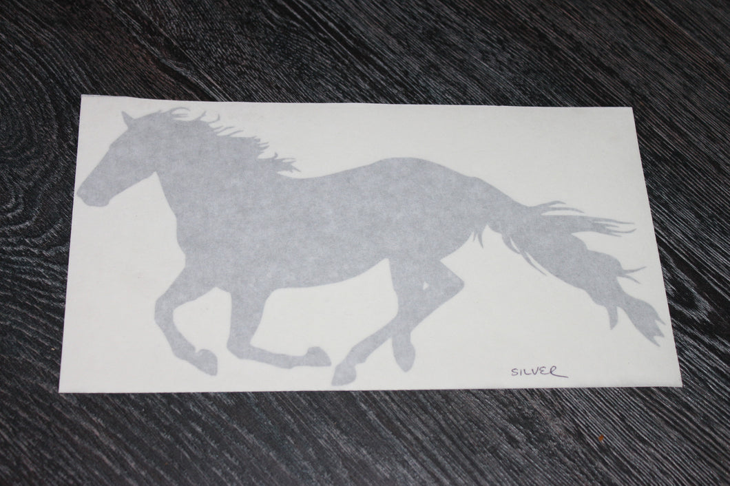Silver metallic running horse decal