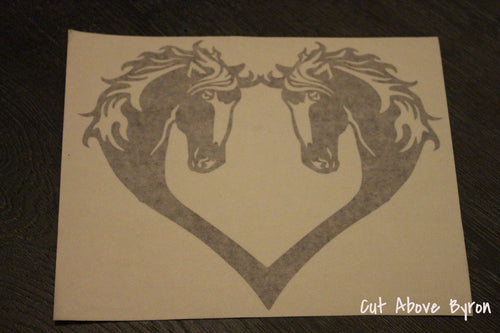 Black horses with blaze heart silouette decal