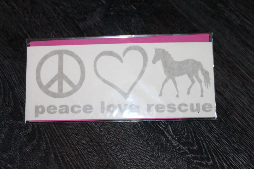 Gold metallic Peace Love Rescue Horse decal