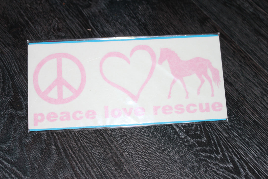 Pink Peace Love Rescue Decal