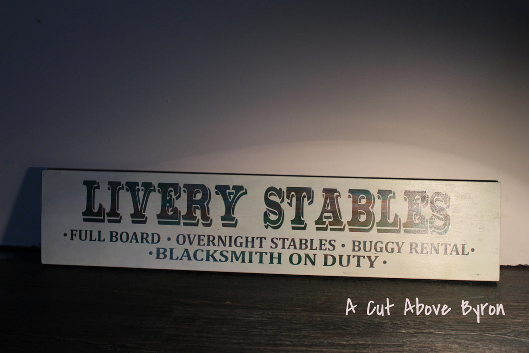 Large Livery Stable Timber Sign