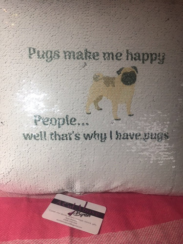Pug lovers magic sequin pillow