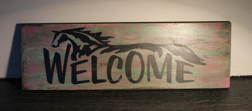 Welcome featuring horse timber sign