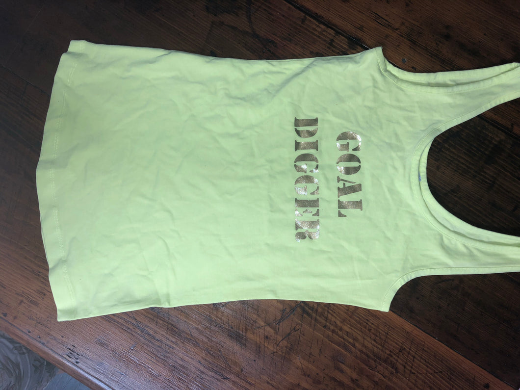 Goal Digger ladies glitter gold print singlet