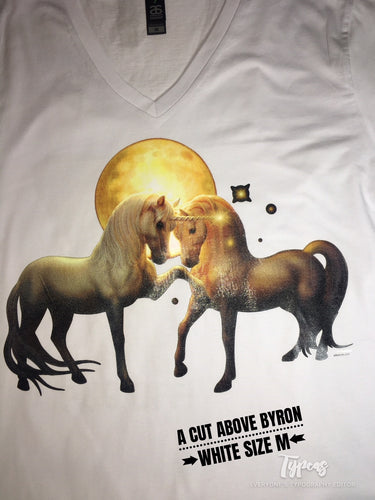 Moonlit Unicorns  print -  Size Adult M - White  V necked Tshirt