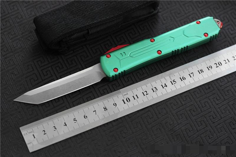 Microtech Ultratech S/E action Automatic OTF Tactical Knife Blade 8Cr13Mov Handle 6061 T6 Aluminum Outdoor Survival Purple Red Black Blue