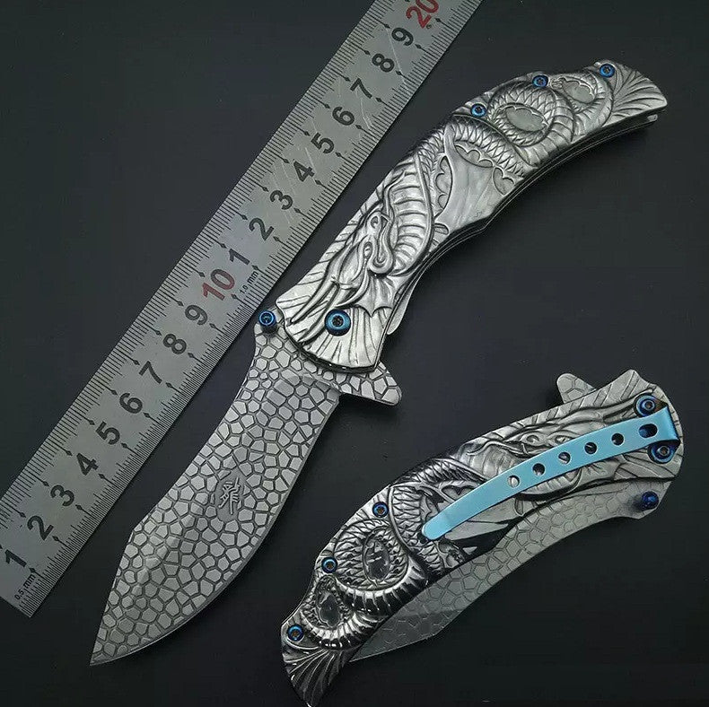 SILVER DRAGON Collection SPRING ASSISTED OPEN Folding Pocket Knife Cosplay Fantasy Art Knife - VIKNIFE