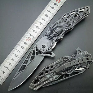 Spider Stonewash 440C Assisted Folding Knife Tactical Folding Blade Spider Web Design Fantasy Art - VIKNIFE