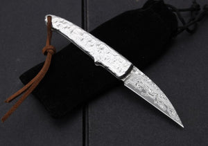 Handmade Collector Damascus Rosewood Mini Small Pocket Folding - VIKNIFE
