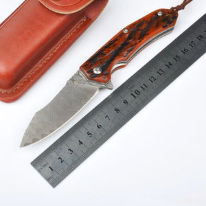 Handmade Collector Custom Damascus Pocket Red Wood - VIKNIFE