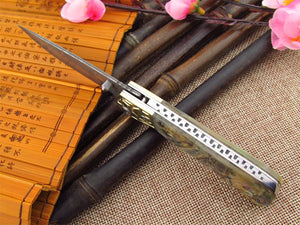 Handmade Collector Custom Damascus Copper Small Pocket Folding Abalone - VIKNIFE