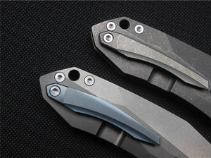 CH Brand Folding Knife Tactical Survival Stonewashed Grey Black Ball Bearing S35VN Titanium - VIKNIFE